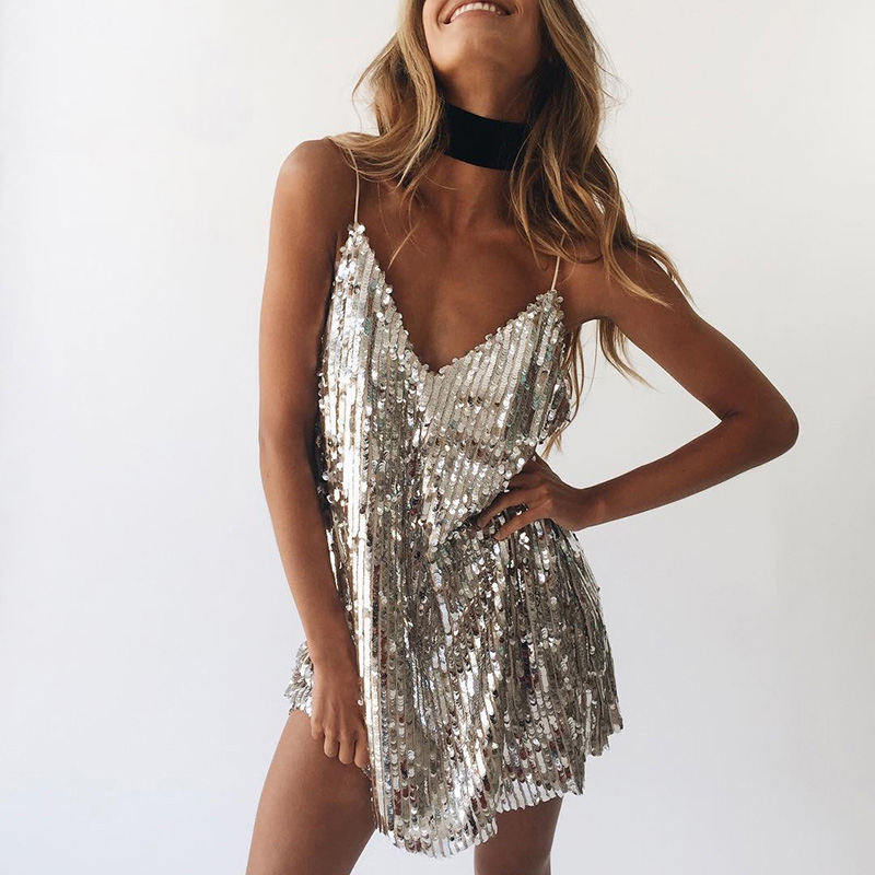 Deep V Neck Autumn Silver Sequined Backless Dress