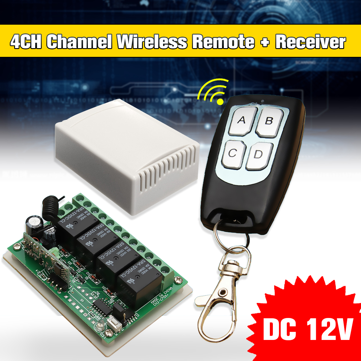 200m DC 12V 4CH Wireless Remote Control Controller Radio Switch 433mhz Transmitter Receiver High Sensitivity купить в Москве 2019