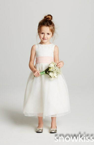 Simple cheap free shipping ivory satin flower girl dress tea length with baby pink sash and bow for rustic country wedding