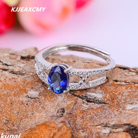 KJJEAXCMY Fine Jewelry Sterling Silver Ring Color Jewelry 925 Silver Inlay Tanzania Color Topaz Ring Female