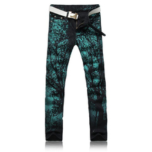Cool Mens Painted Jeans Cotton Clubwear Personality fashion Jeans Men Straight Mens Denim Trousers Mens Tree