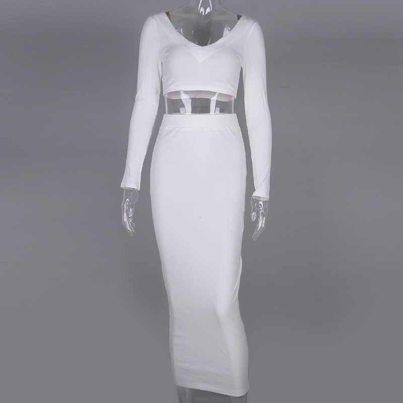 Newasia conjunto cropped manga longa duas peças, conjunto feminino com decote em v, saia longa, roupa de festa, duas peças roupas 2020