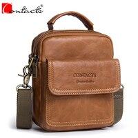 Heißer Verkauf CONTACT'S Vollrindleder Männer Tasche Kleine Handtaschen Männliche Umhängetasche Mann Crossbody Schultertasche männer taschen