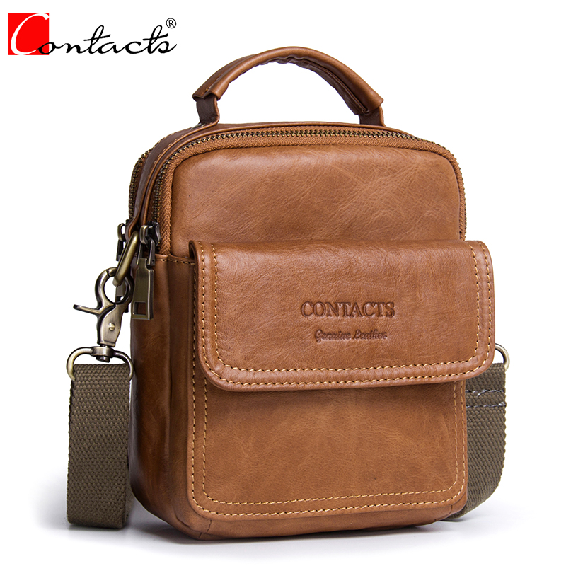 Hot Sale CONTACT'S Genuine Cow Leather Men Bag Small Handbags Male Messenger Bag Man Crossbody Shoulder Bag Men's Travel Bags hot 2017 genuine leather bags men high quality messenger bags small travel black crossbody shoulder bag for men li 1611