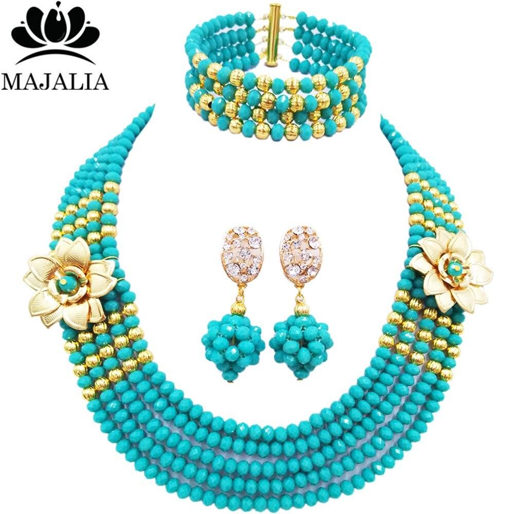 Majalia mode mariage nigérian perles africaines ensemble de bijoux Aqua bleu perles collier Bracelet boucles d'oreilles ensembles de bijoux 5EQ004