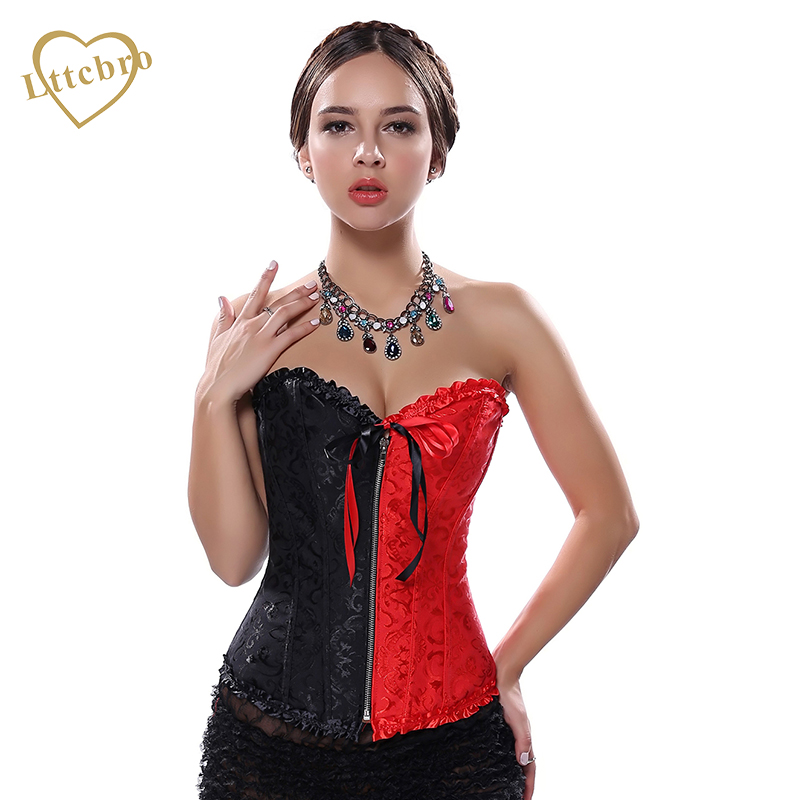 Fashion <font><b>Hit</b></font> <font><b>Sexy</b></font> Corset Zipper Black Red Color Matching Lingerie Gothic Brocade Overbust Bustiers Plus size S-6XL image