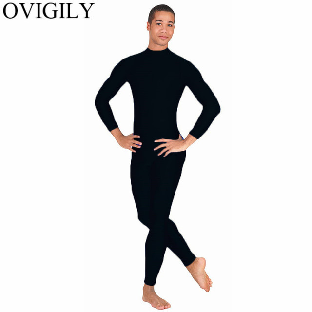 3436c366d8 OVIGILY Men s Black Unitard Adults Mock Neck Spandex Lycra Zentai Suits  Tights Stretch Bodysuit Dancewear Stage Theater Costumes
