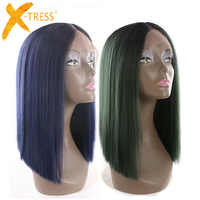 Yaki Straight Lace Front Synthetic Hair Wigs Middle Part X TRESS 14inch Black Green Blue Ombre Color Blunt Lace Wig For Women