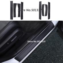 Car Door Sill Carbon Fiber PU Leather Sticker Scuff Plate Guards Welcome Pedal For Honda CRV CR-V 2017 2018 2019 Accessories