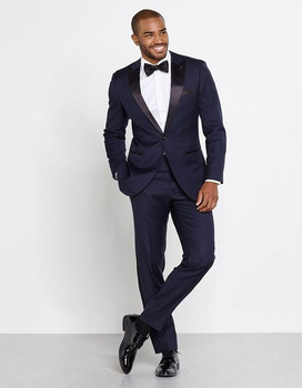 Peak Collar Navy Blue Groom Tuxedos 2017 Gentlemen Style Men Suits For Daily Prom Best Men Wedding Suits (Jacket+Pants+Bow)