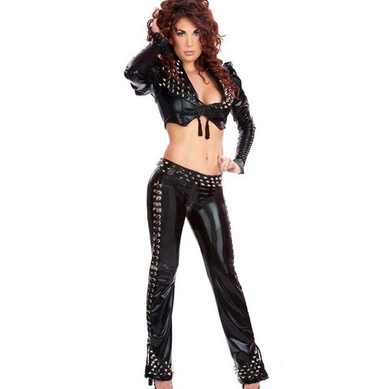 M-XL adulte Steampunk vêtements érotique femmes noir Sexy 2 pièces vinyle cuir Catsuit manches longues Crop hauts pantalons longs