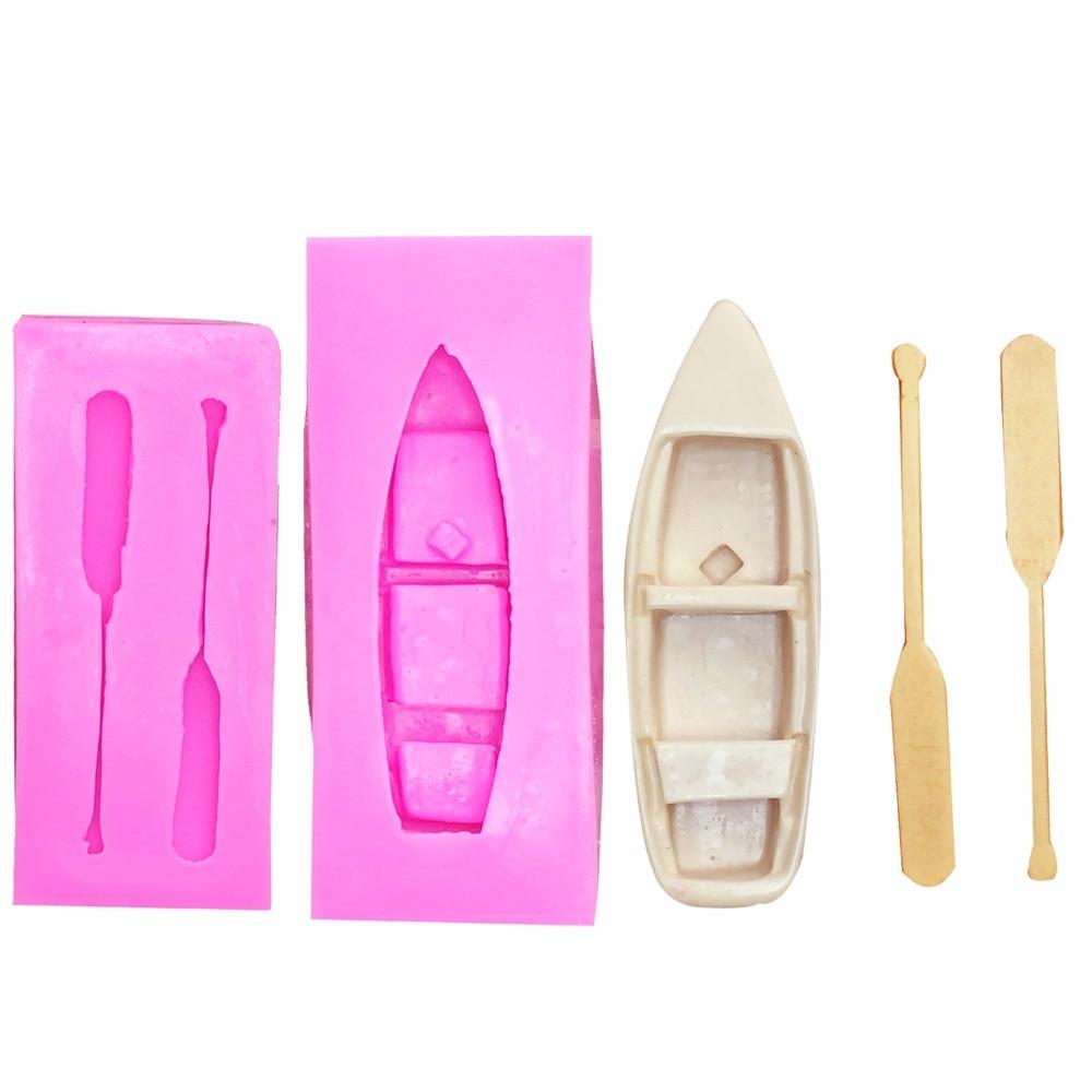 3D Bateau avec Pagaie Avirons Moule En Silicone-pour Bougies Fondantes, Pâte de Gomme, Résine Argile Polymère, scrapbooking Moule T1124