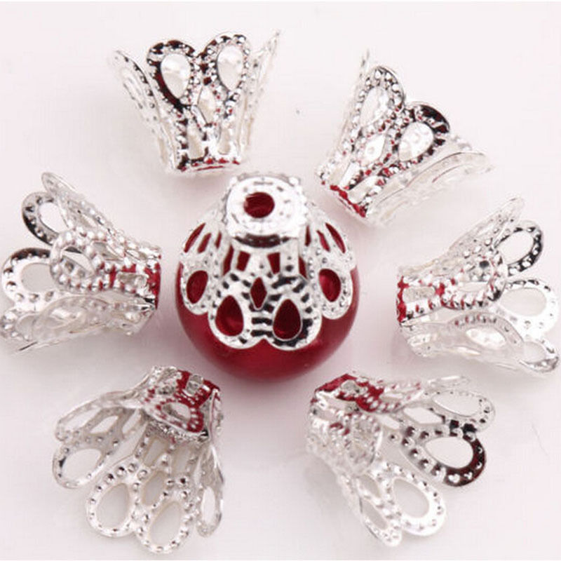 100 Pcs Filigree Flower Cup Shape Silver Loose Bead Caps for Jewelry Making Ou