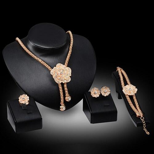 Bluelans Wedding Flower Crystal Necklace Earring Ear Studs Bracelet Ring Jewelry Set