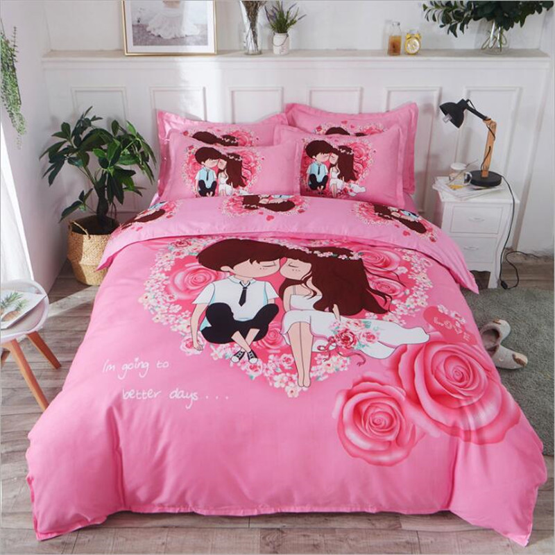 cartoon pink flamingo bedding sets 3/4pcs geometric patternbed linings duvet cover bed sheet <font><b>pillowcases</b></font> cover set XHS0018 image