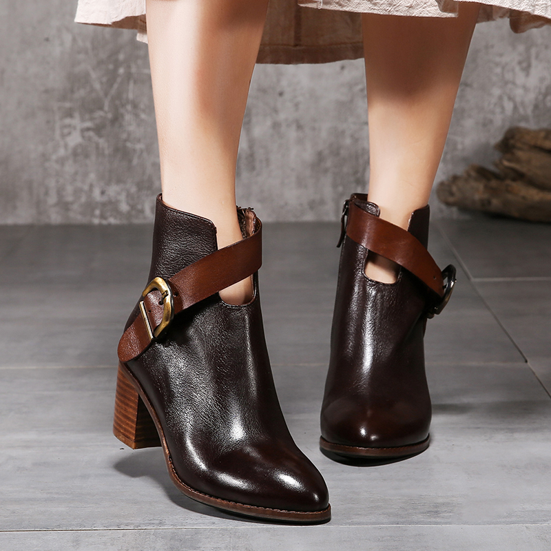 New Arrival Women Shoes Ladies Ankle Boots Genuine Leather Square Heel Pointed Toe Buckle Strap Women' s Shoes