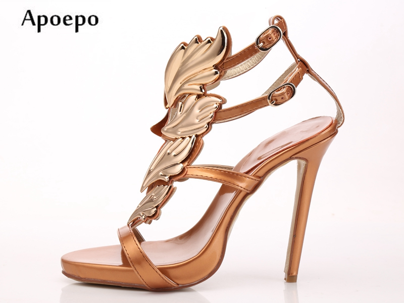 New Hot Selling Woman Sandal Summer Sexy Open Toe Gladiator Sandal Gold Leaf decorations high heel shoes ankle strap sandal