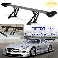 135cm Universal Racing Sports Car Rear Tail Trunk Racing Wing Spoiler Aluminum Black Adjustable GT Double Row