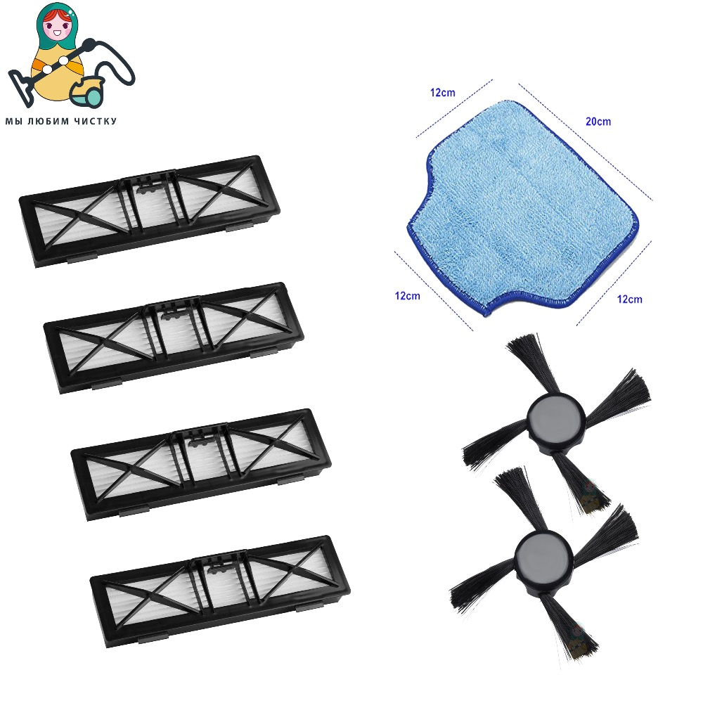 Replacement HEPA Filter Side brush Mop pads for Neato Connected D3 D5 Botvac D75 D80 D85 65 70e 75 80 85 HEPA brush Mop pads combo roller brush 1 hepa filter 5 for neato botvac 70e 75 80 85 robot vacuum cleaner parts replacement kit filter brush