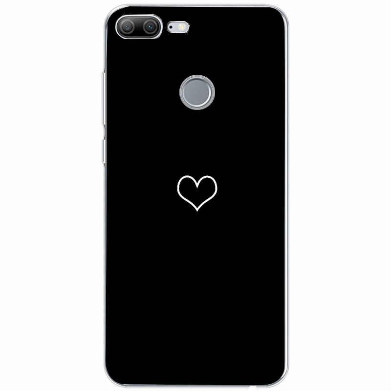 Ragazza di fiore di Disegno Custodia Morbida Per Funda Huawei P20 Lite P Smart P9 Lite 2017 Rosa Cuore Copertura In Marmo Nero capa Per p9 lite mini
