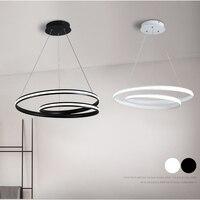 Moderne creativiteit wit/zwarte cirkel ringen LED hanglampen suspension opknoping woonkamer slaapkamer eetkamer hanglamp-in Hanglampen van Licht & verlichting op