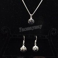 Rhinestone Shamballa Set Gradient Black Disco Ball Pendant Earrings And Necklace For Women 10 Sets Wholesale