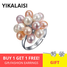 YIKALAISI Natural Freshwater Drop Pearl Ring Jewelry 4-5mm Flower Adjustable Rings For Women White Pink Multi Black color(China)
