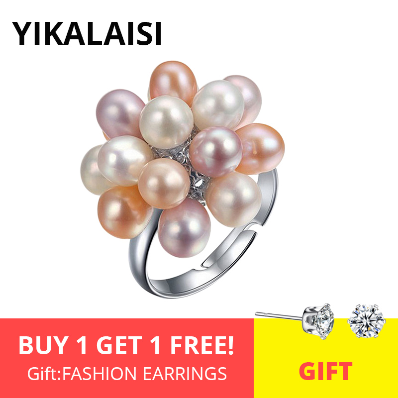 YIKALAISI Natural Freshwater Drop Pearl Ring Jewelry 4-5mm Flower Adjustable Rings For Women White Pink Multi Black Color