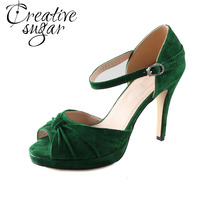 Handmade Dark Green Emerald Suede Leather Heel Wedding Shoes Knot On The Toe Peep Open Toe
