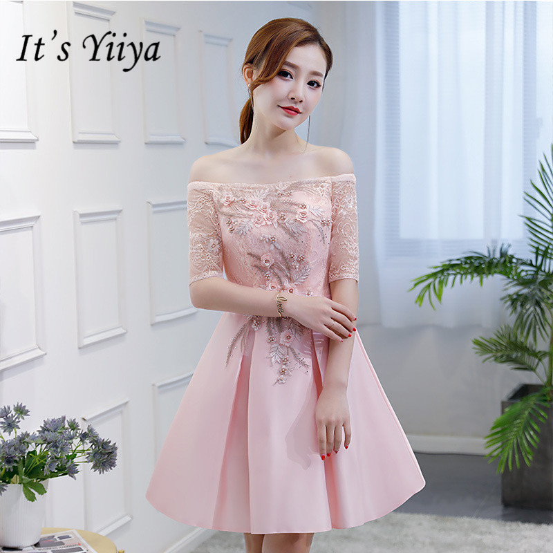 It's YiiYa Boat Neck Pure Color Bridesmaid Dresses Elegant Embroidery Slim A-line Knee-length Frocks H180