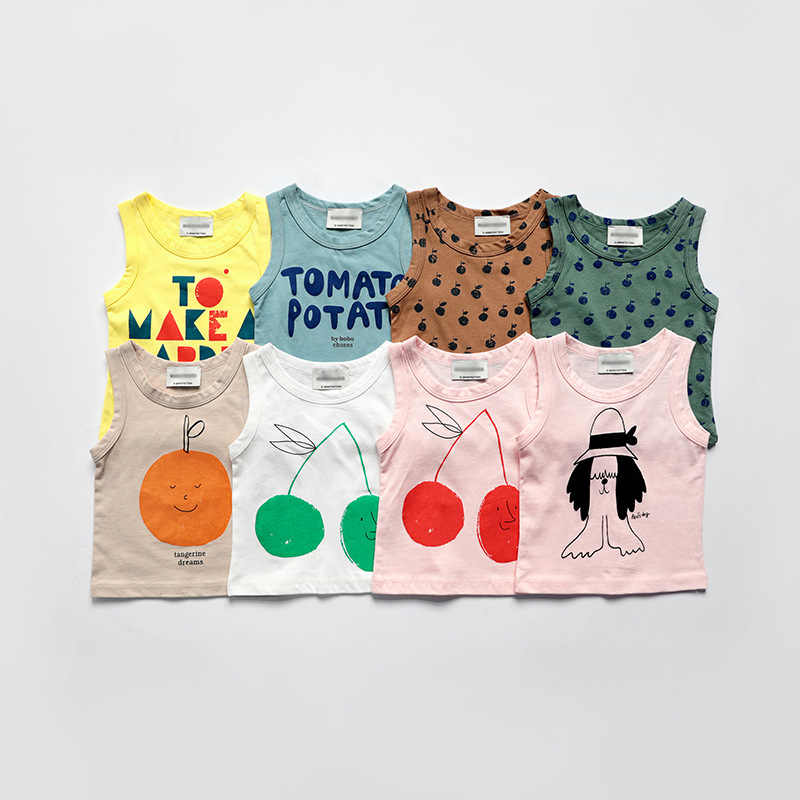 Vestidos Kids Summer Kids Vest T-shirt for Boys and Girls Kids Bobo Chose Cherry Apple Print Tops Tank