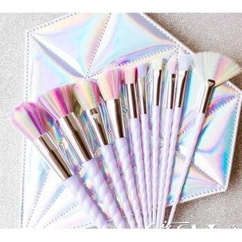 Kit Unicorn Makeup Brushes 10 Pcs White Set Face Powder Eye Shadow Eyeliner Eyelash Lip Brush Cosmetic tool Concealer Blusher 1