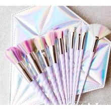 Kit Unicorn Makeup Brushes 10 Pcs White Set Face Powder Eye Shadow Eyeliner Eyelash Lip Brush Cosmetic tool Concealer Blusher