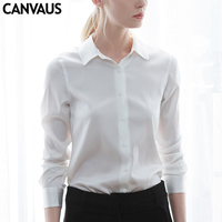 CANVAUS new real silk shirt, white solid office lady real silk blouses,original design silk blouses,chiffon blouses,F180071