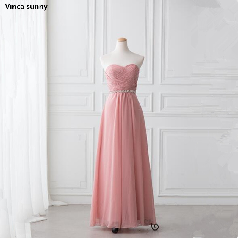 Vinca sunny Custom Color 2018 Cheap A-Line Bridesmaid Dresses Long Elegant Pleat Chiffon ...