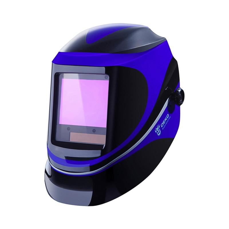 DEKO Solar Powered Welding Helmet LED Digital Display Adjustable Shade Range