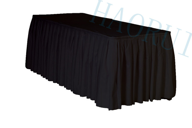 21ft X29 Black 5pcs Polyester DIY Table Skirt For Outdoor Wedding Party Dining Setting