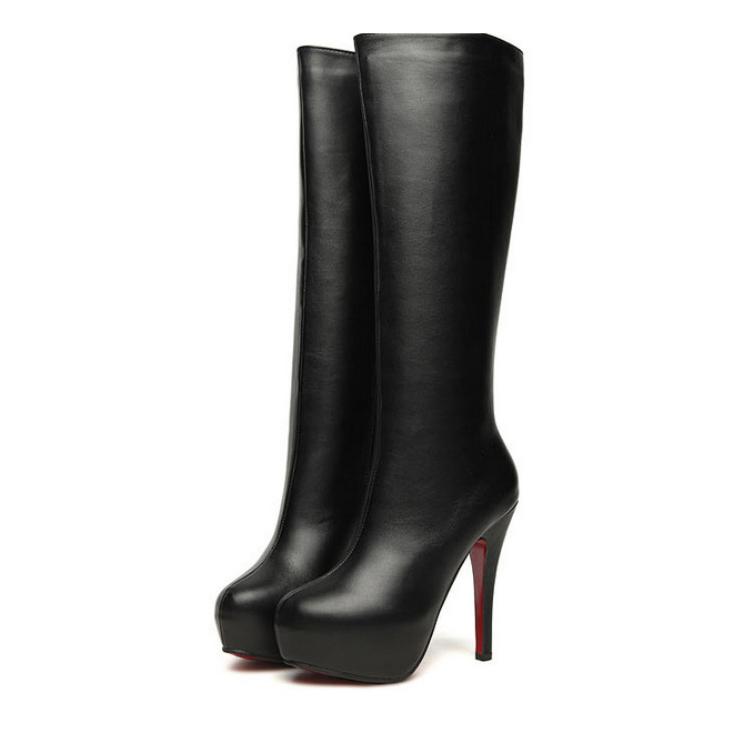 Popular Knee Length High Heel Leather Boots-Buy Cheap Knee Length ...