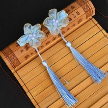 1 pair Vintage Chinese style children hair clip national flower tassel cute hairpin for kids