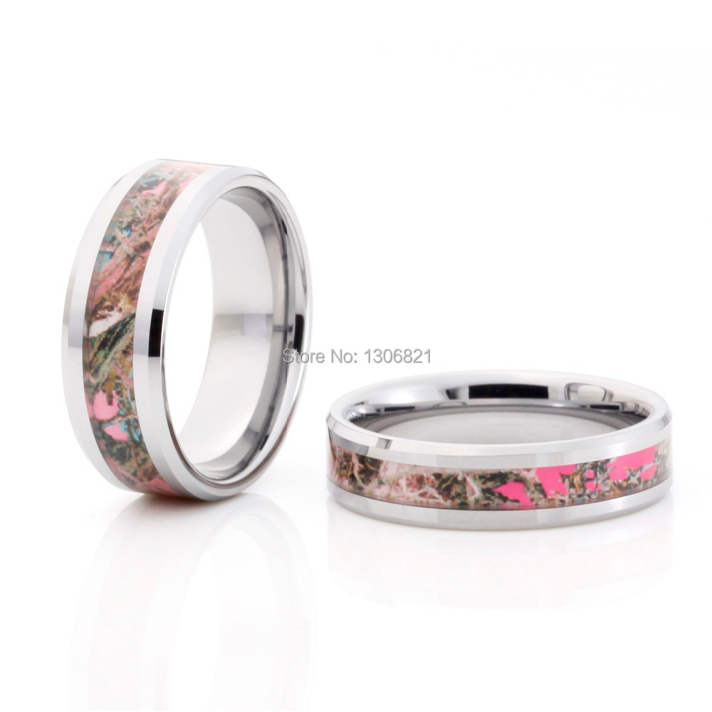 pink camo wedding rings black ceramic band by 1 camo womens camo wedding rings Black Ceramic Pink Camo Wedding Ring rings