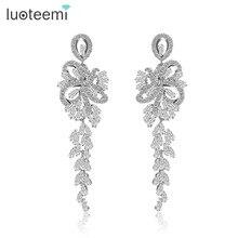 LUOTEEMI New Arrival Luxury Big Long Flower Pendant Drop Earrings With Shining CZ Brincos Bridal Women Wedding Party Jewelry