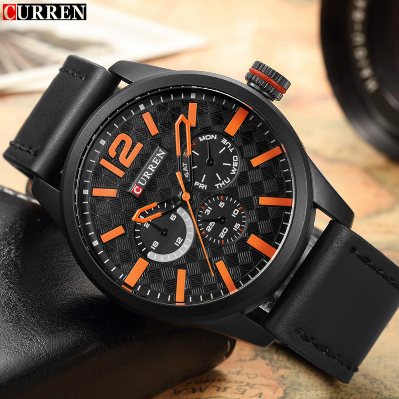2017 New Curren Mens Watches Top Brand Luxury Leather Quartz Watch Men Wristwatch Fashion Casual Male Sport Clock Watch Relogio new listing pagani men watch luxury brand watches quartz clock fashion leather belts watch cheap sports wristwatch relogio male