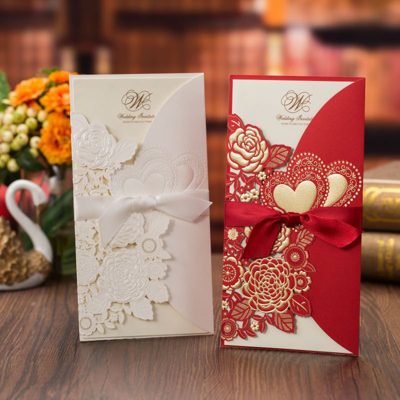 1pcs White Red Laser Cut Wedding Invitations Card Rose Love Heart Cute Greeting Cards With Ribbon Wedding Party Favor Decoration
