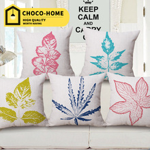 Original home cushion hold throw pillow outer with fragrance leaves sofa office car home decorative pillow cotton linen 45*45cm