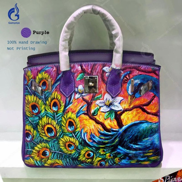 Famous Painting Bag Handbags Women Bags Real Cowskin Leather Designer Hand Drawing Art Beautiful Colorful Pea