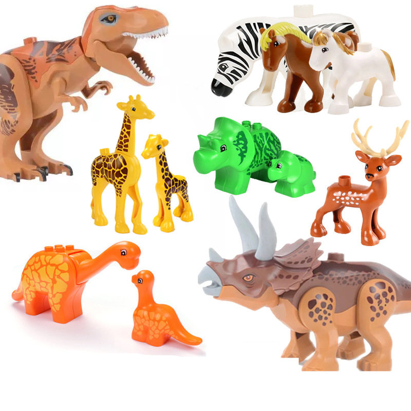Legoingly Duplo Dinosaurs Park Tyrannosaurus Rex Single Sale Kid Baby Sets Model Building Blocks Brick Toys For Children