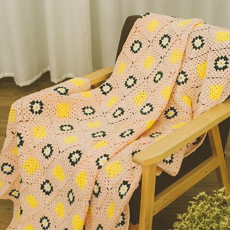 화려한 수제 후크 국화 꽃면 레이스 세련된 편물 스레드 담요 / 많은 독특한 선물