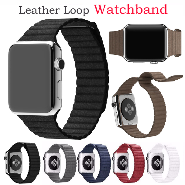 High Quality Leather Loop Watch Strap Black Brown Blue Soft Wrist Replacement Band For Apple Watch Men Women 38mm 42mm Watchband