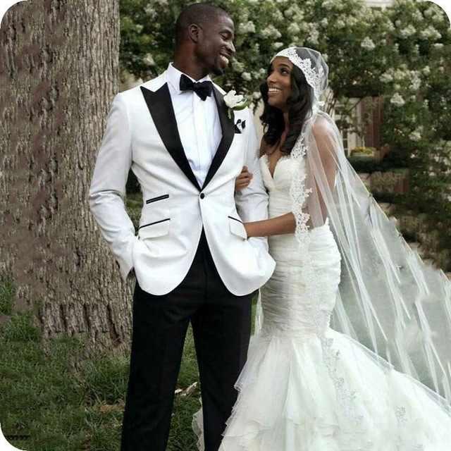 2019 黒ラペルスリムフィット白男性の結婚式のスーツ 2 個男性タキシード新郎のためのパーティーのプロムの結婚式メンズスーツ花婿