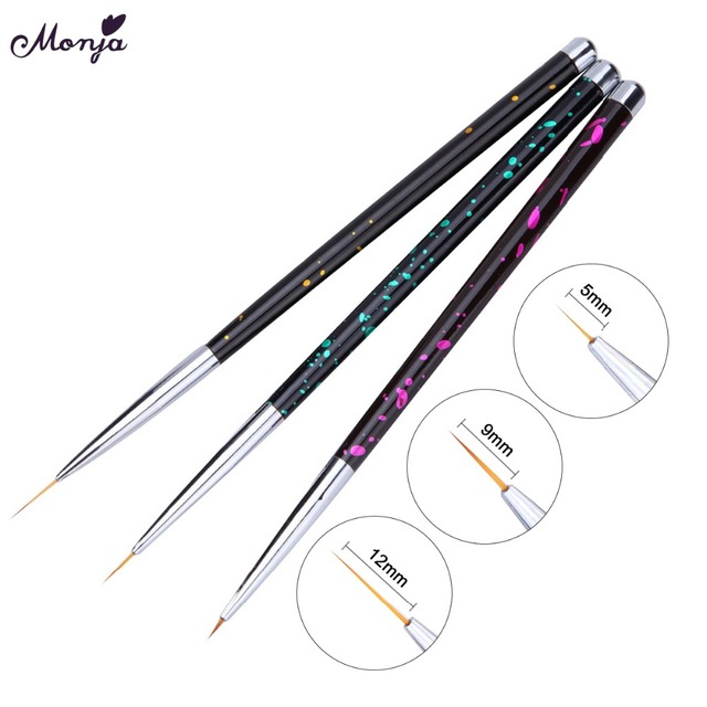 Monja 3pcs/set 7/9/11mm Nail Art Acrylic French Painting Brush Flower Design Stripes Lines Liner DIY Drawing Pen Manicure Tools 3